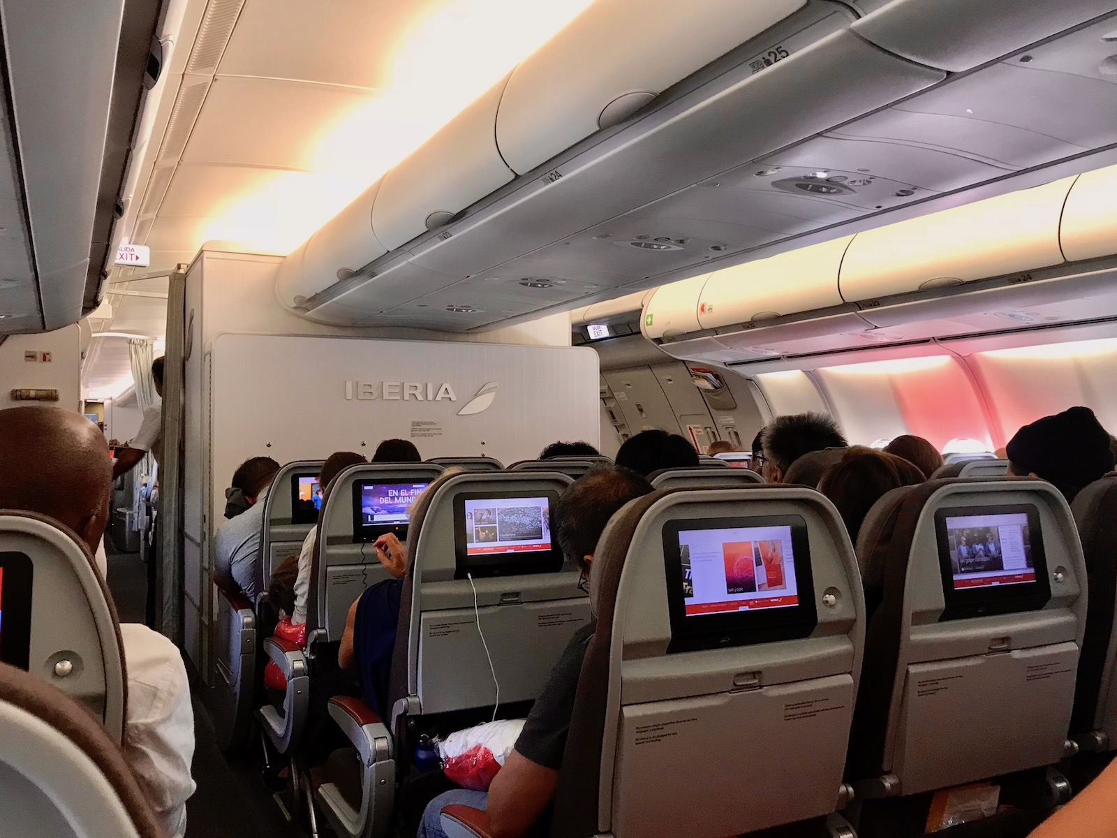 In-flight Entertainment (IFE) screens in each seatback. Note the USB cord plugged into the jack just below the screen,