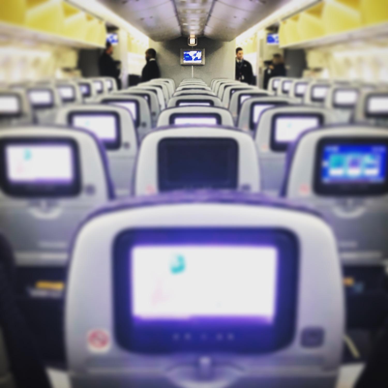 Far back as we go in a United 787 Dreamliner.
