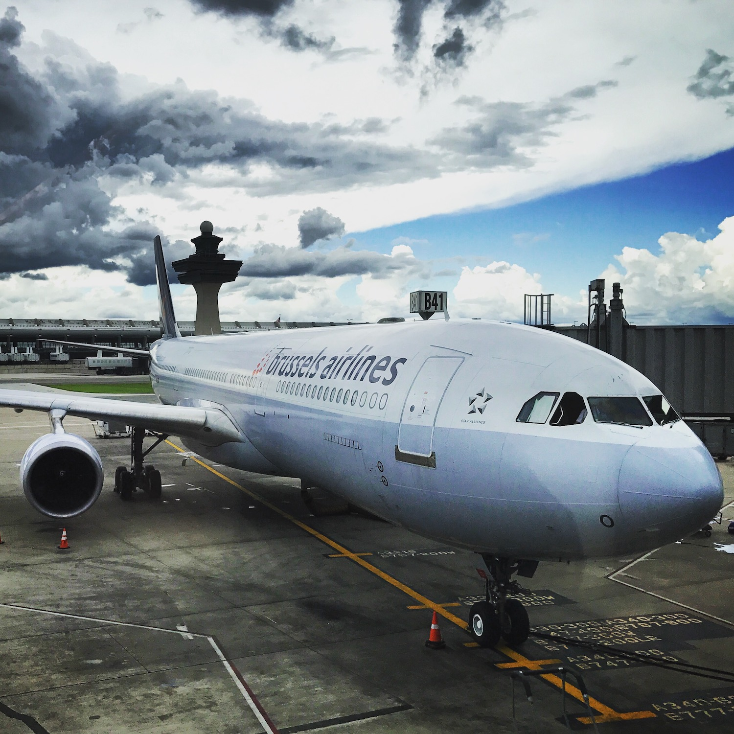 Brussels Airlines at the gate.