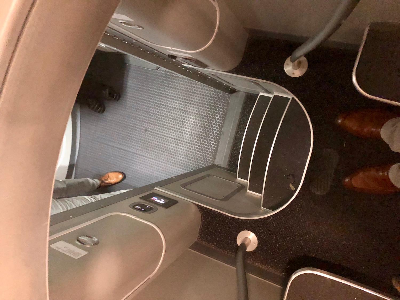 Descending the ladder from crew rest area aboard the Dreamliner.