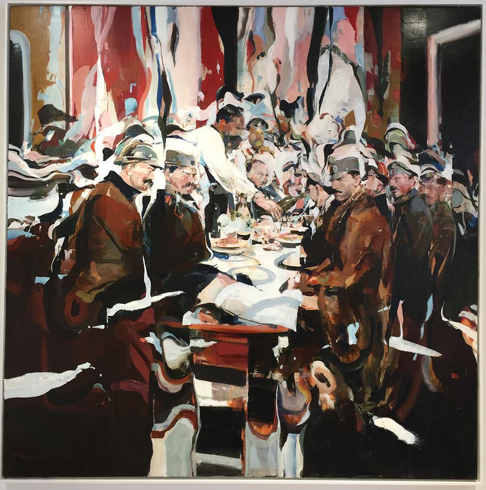 "Alex Kanevsky Dinner on a Battlefield, oil on linen, 66"" x 66"""