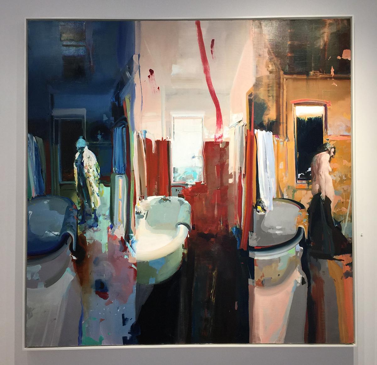 "Alex Kanevsky Three Views of a Bathroom, oil on linen, 66"" x 66"""