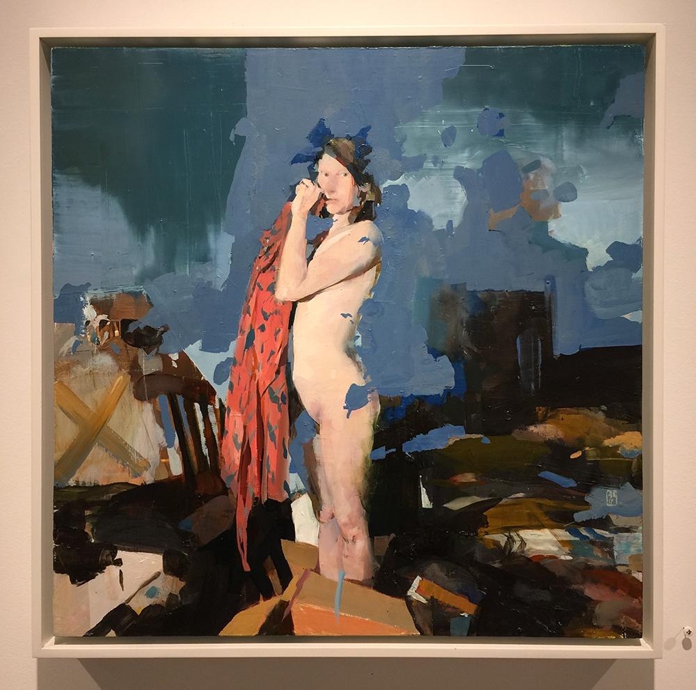 "Alex Kanevsky J.W.I. in Her Room, oil on board, 18"" x 18"""