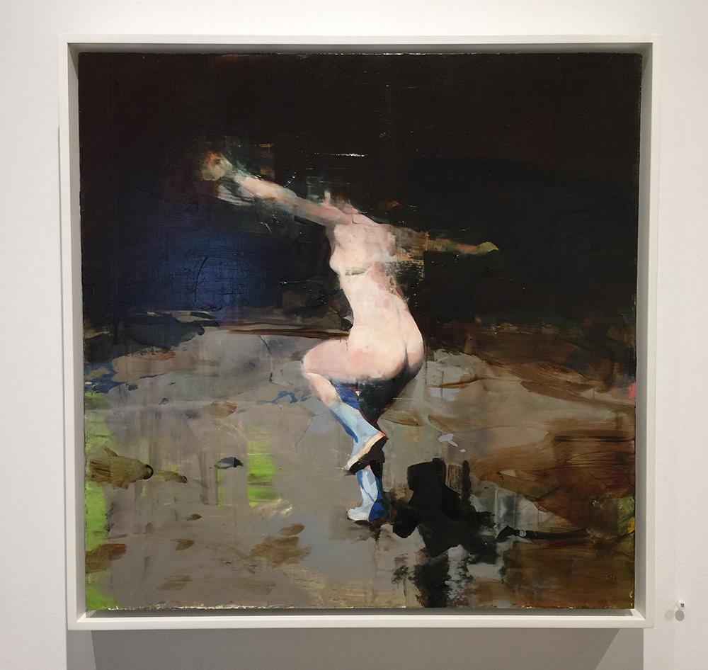 """Alex Kanevsky Night Dancing in Lambertville, oil on board, 18"""" x 18"""""""