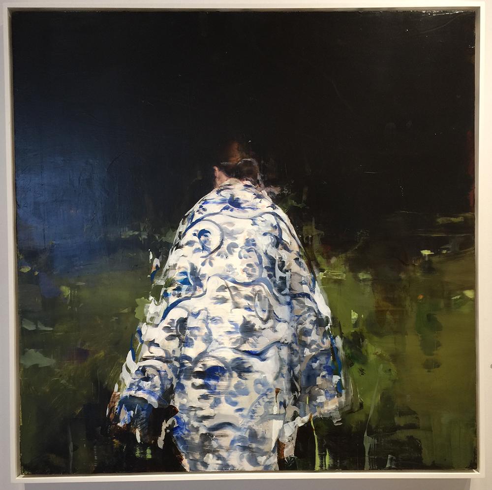 "Alex Kanevsky J.F.H. with Nature Blanket, oil on board, 36"" x 36"""