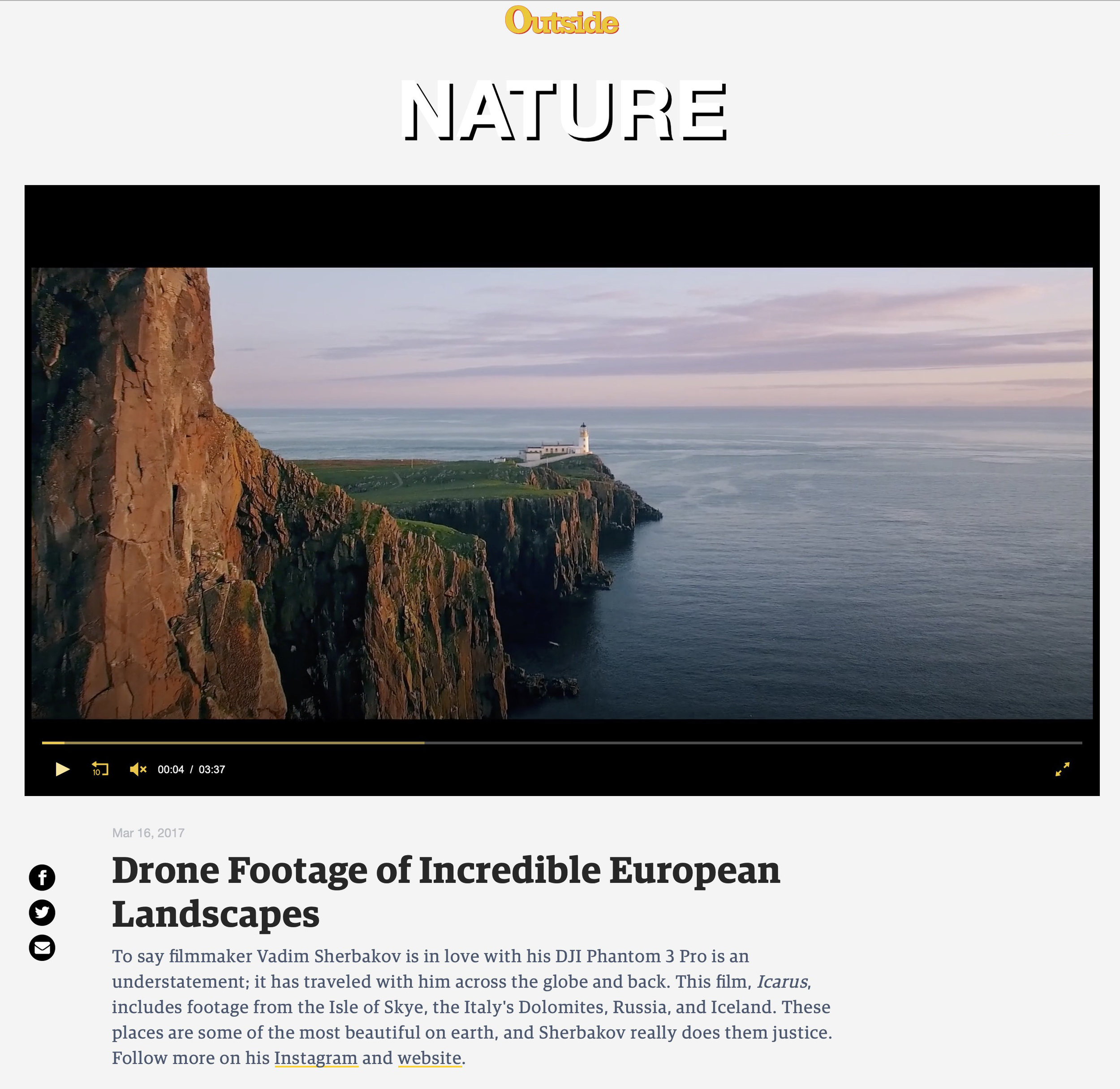 Icarus short drone film on Outside Magazine site