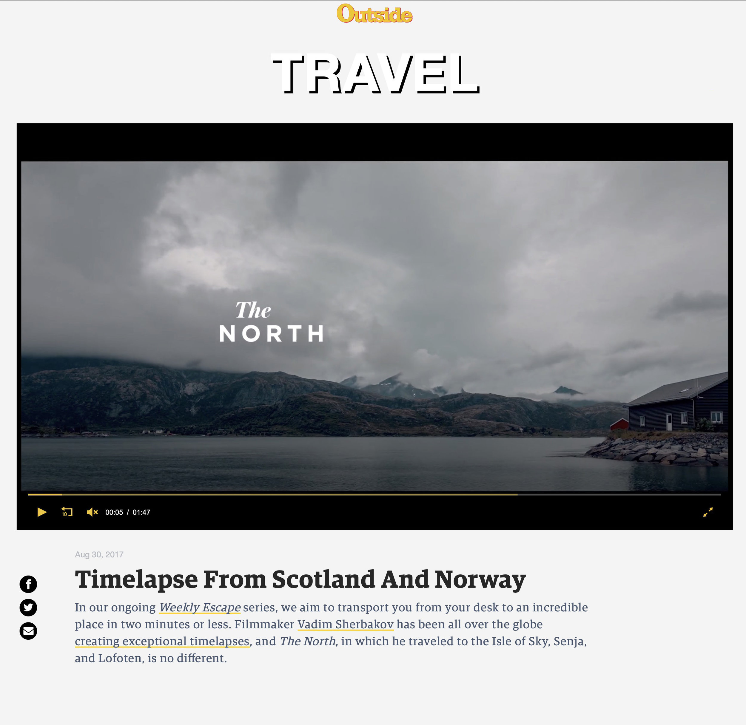 The North short time-lapse film on Outside Magazine site