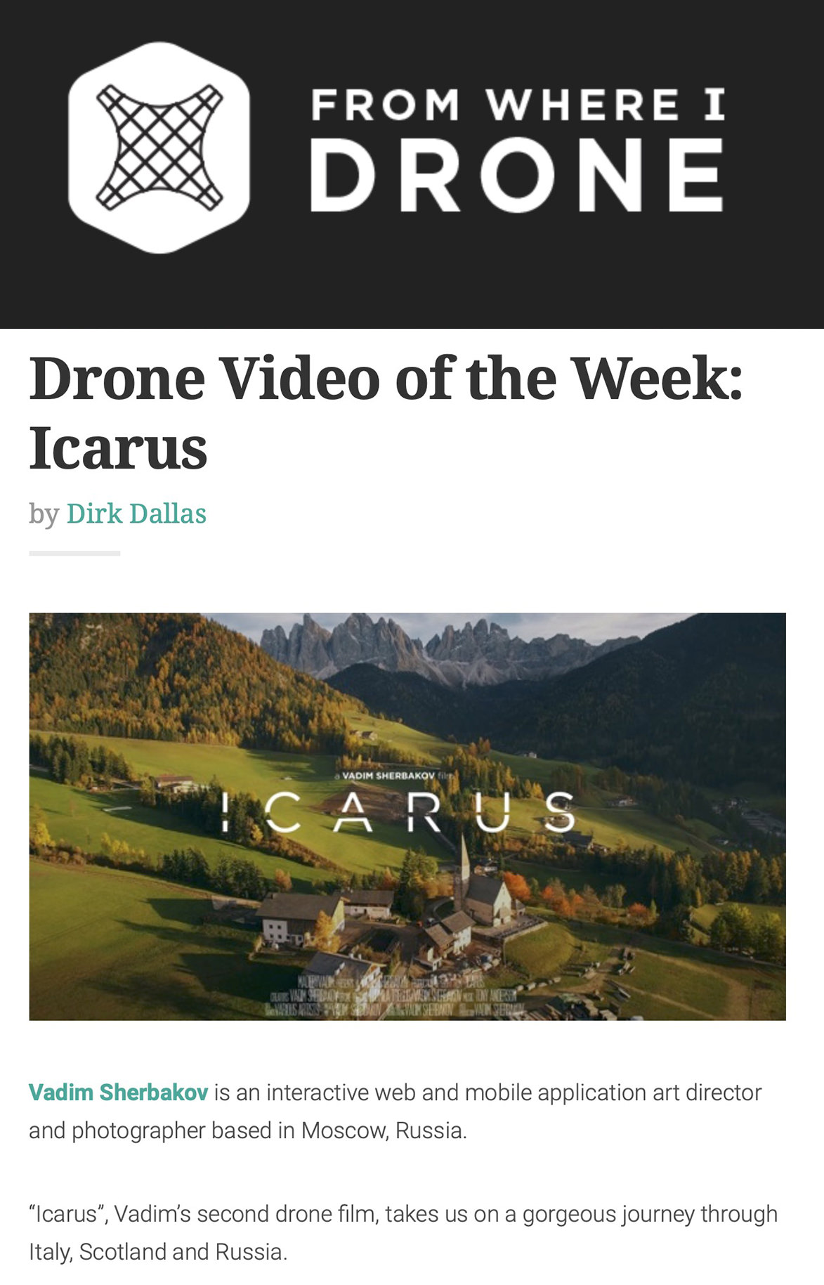 From Where I Drone Video of the Week Article