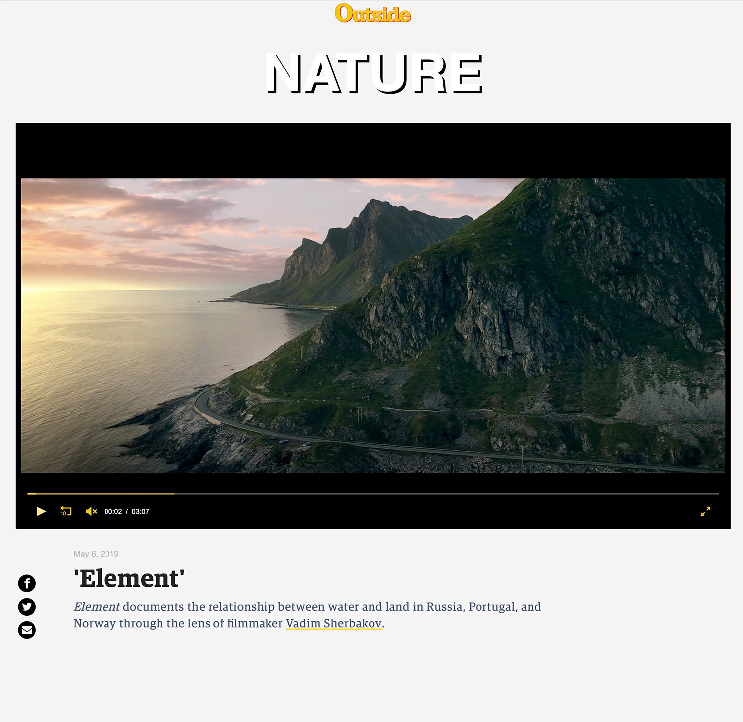 The Element short drone film on Outside Magazine site