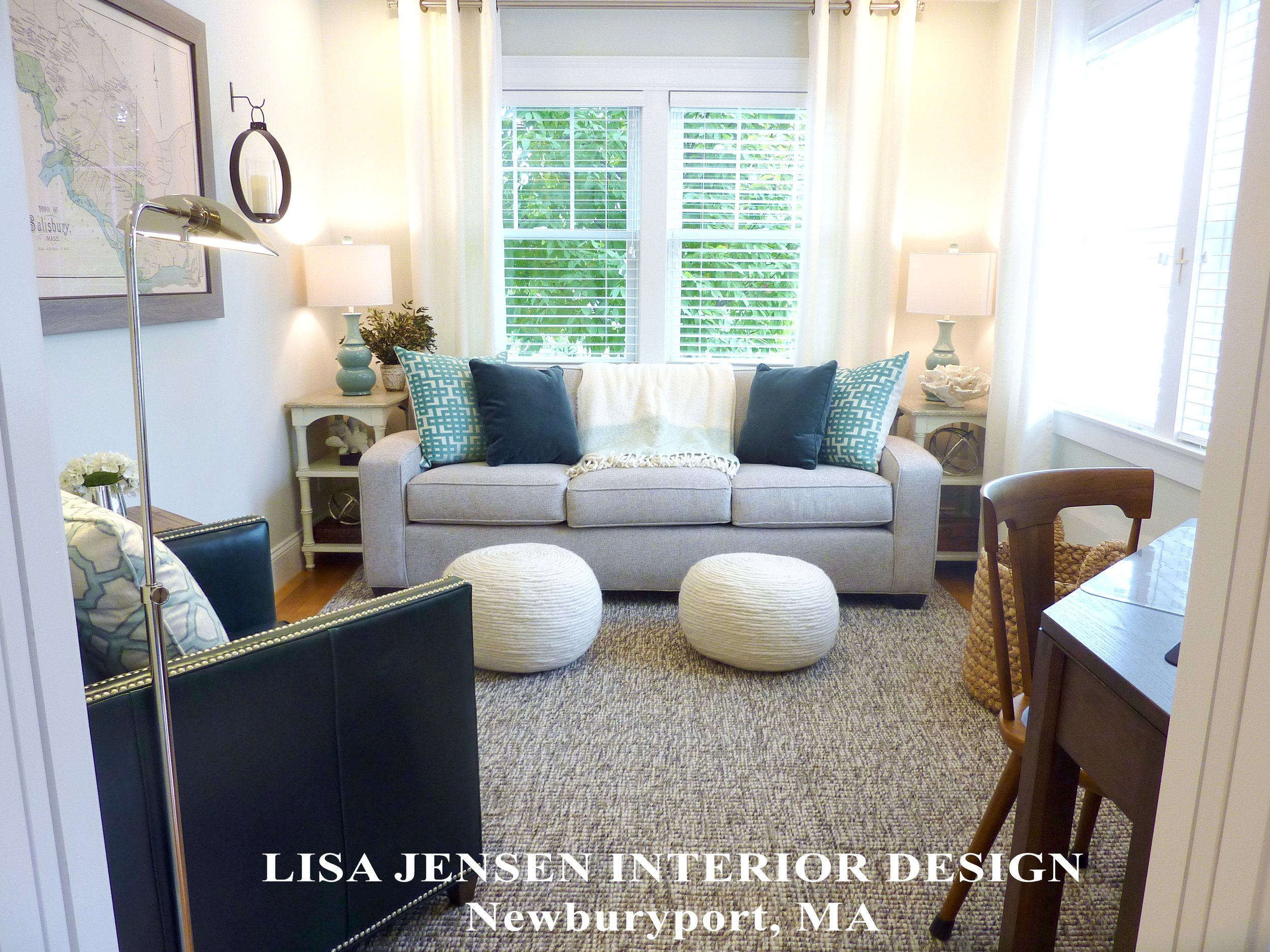 After photograph of the new small Den Design and Decoration Lisa Jensen Interior Design created for her clients in their Salisbury MA waterfront home. The designer successfully incorporated all of the clients wishes to have a desktop work station, a sofa large enough to lay down on, a reading chair, and to make it comfortable for both adults and grandchildren.