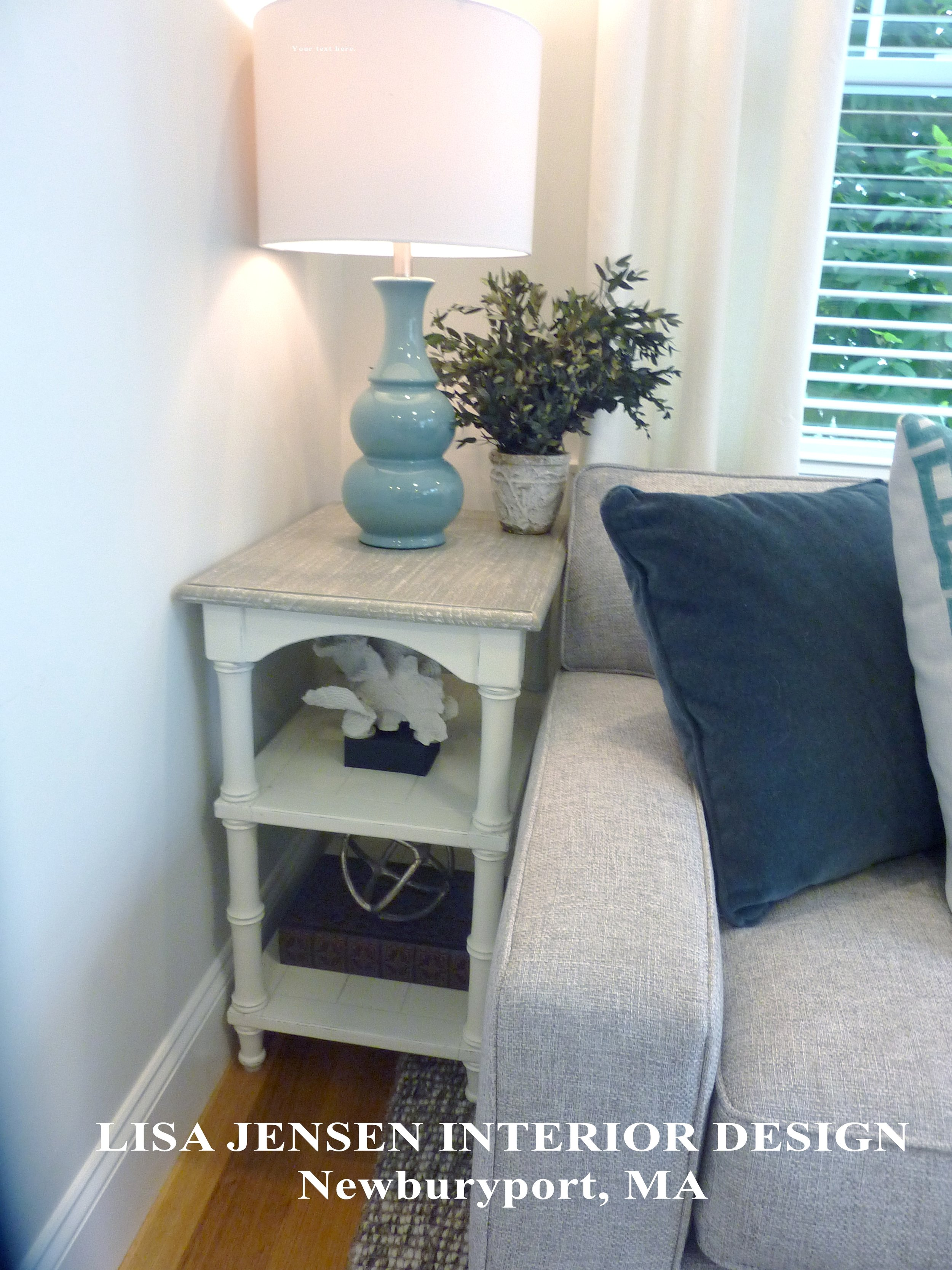 Lisa Jensen Interior Design selected the perfectly sized petite end tables for her client's small den.
