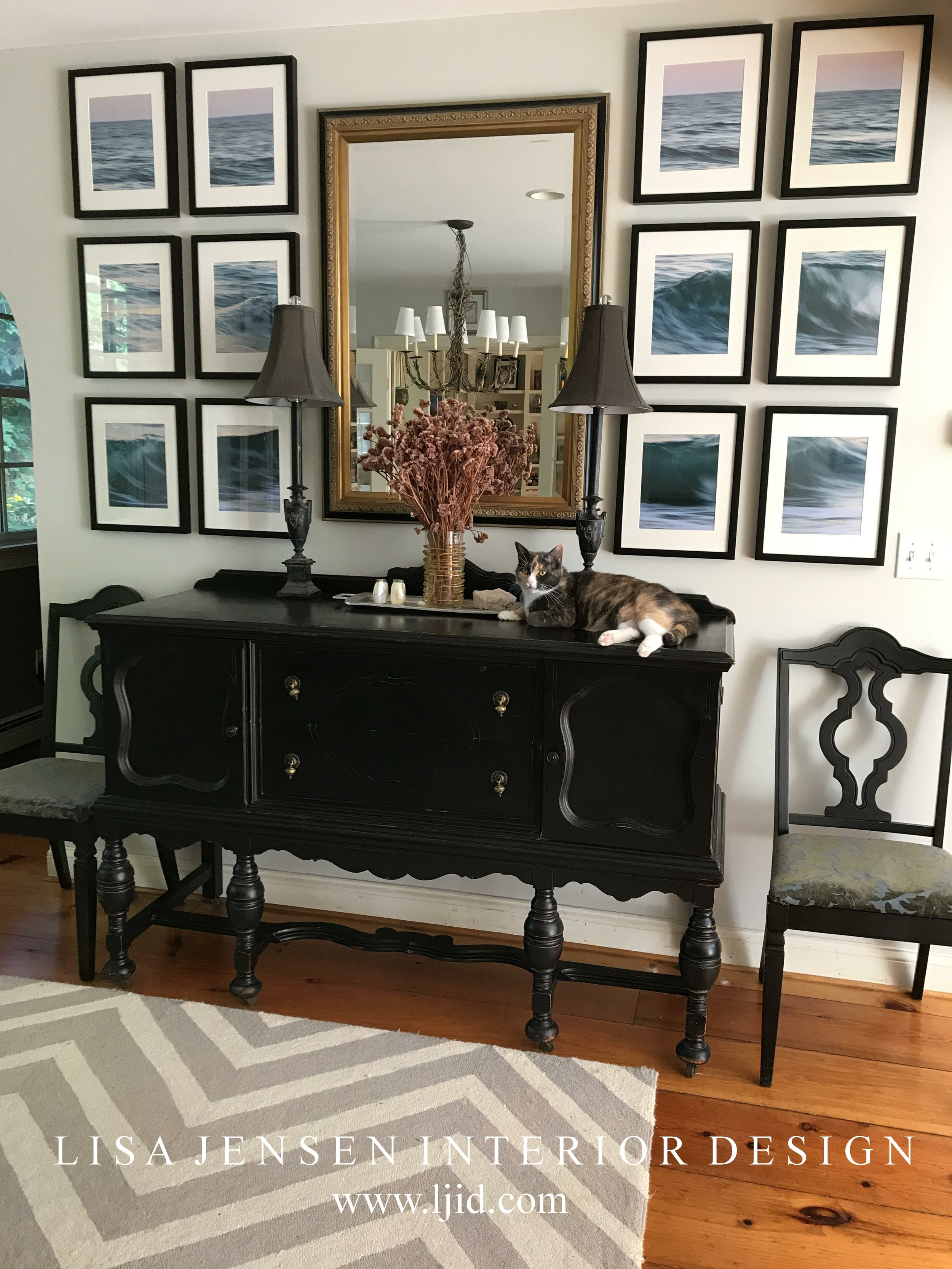 Boston North Shore interior designer Lisa Jensen of Lisa Jensen Interior Design creates a unique idea to decorate a wall with a one of a kind art installation in an open concept dining room design, enjoyed by one of the rescue cats. The designer shares her easy step by step design process below.