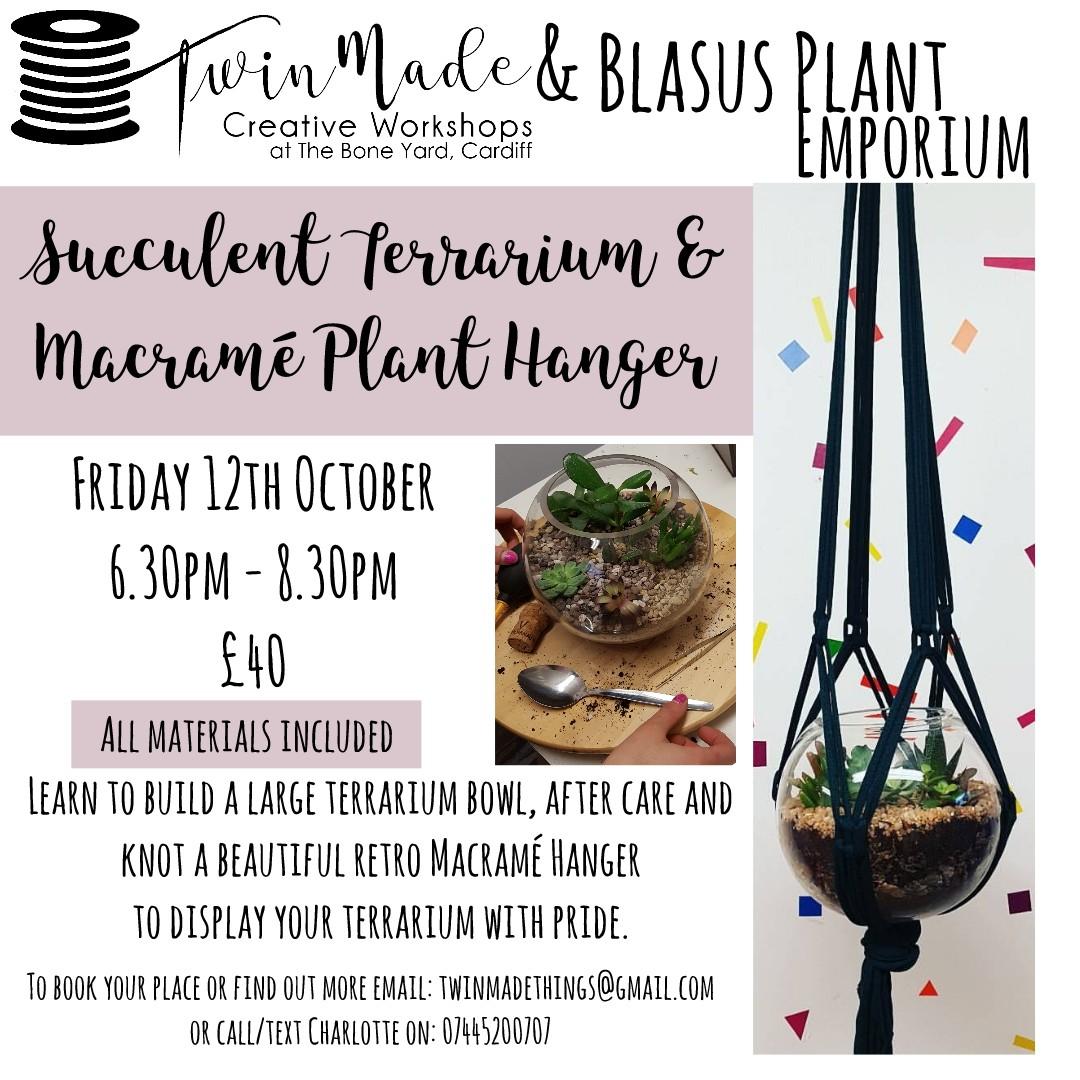 Succulent Terrarium and Macrame Hanger Workshop