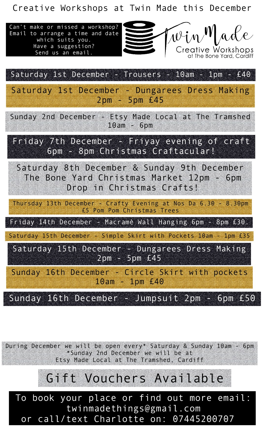 Creative Workshops this December at Twin Made