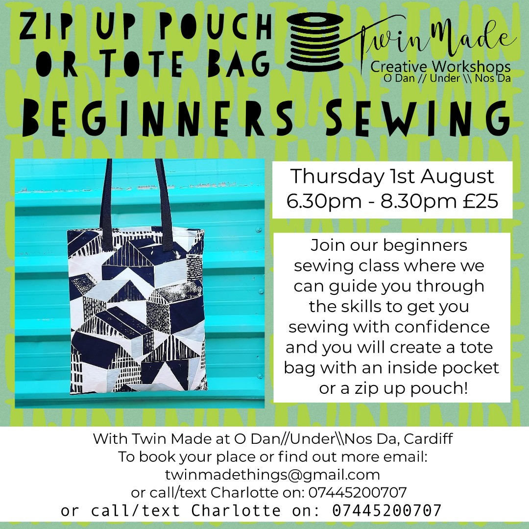 Thursday 1st August - Beginners Sewing Tote Bag - 6.30pm - 8.30pm £25