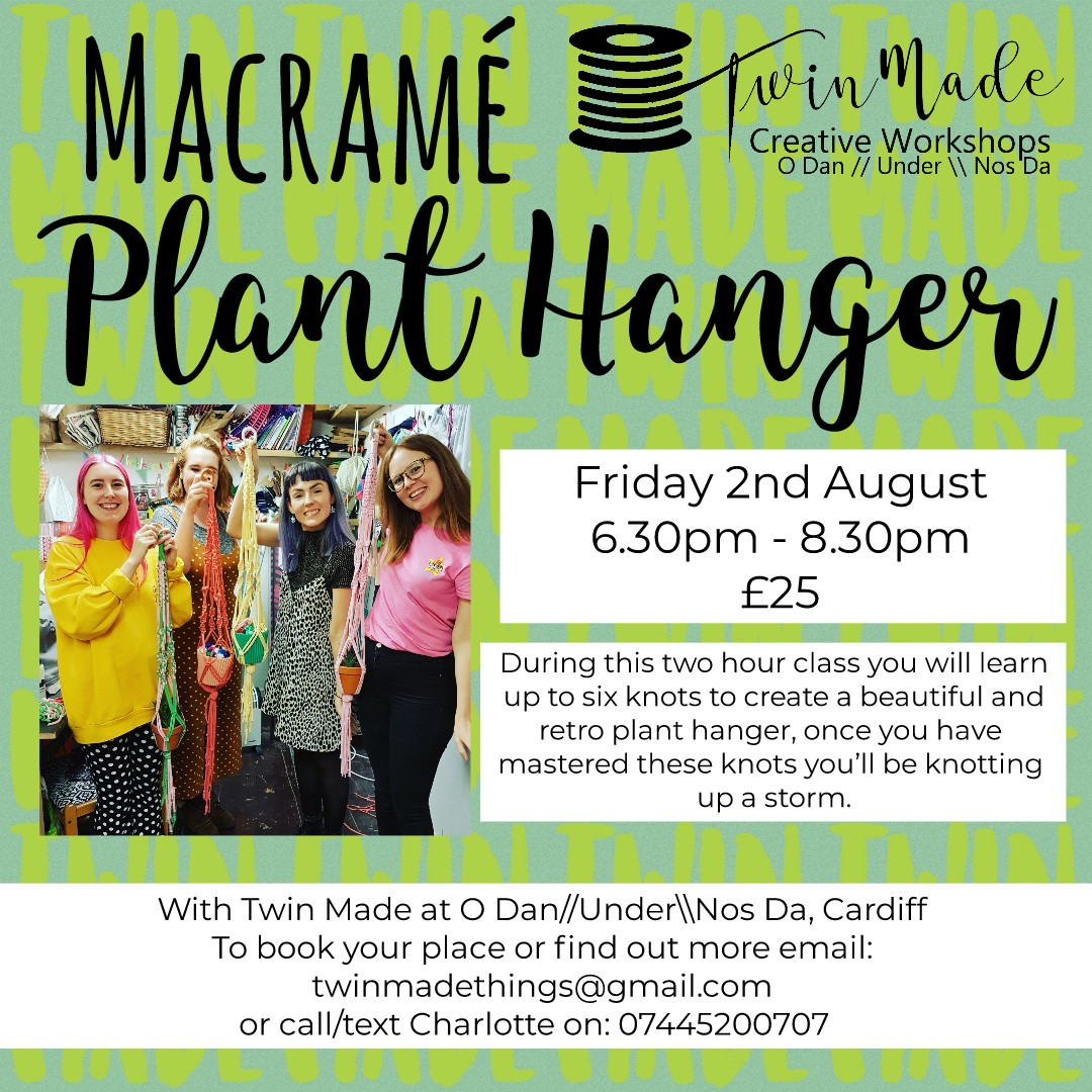 Friday 2nd August - Macramé Plant Hanger 6.30pm - 8.30pm £25