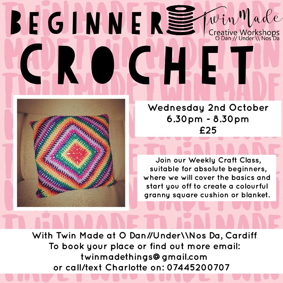 Wednesday 2nd October - Beginners Crochet 6.30pm - 8.30pm £25