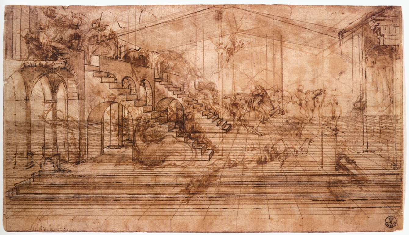 A Study for the Adoration of the Magi (ca. 1481)  Image courtesy of LeonardoDavinci.net