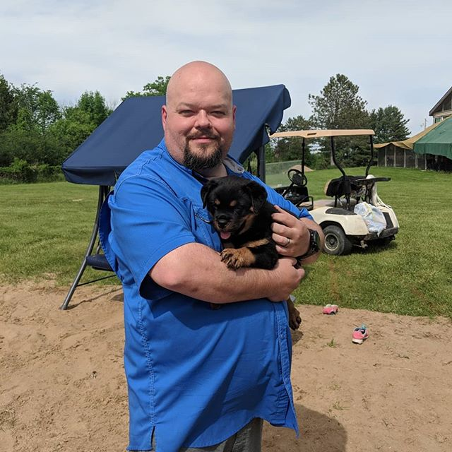 "Awesome weekend. We got to visit the puppies twice this weekend and picked out which one will join our family in 2 weeks as Baby Kona. So excited. I've wanted a Rotty since I was a kid and this is one of those ""one day..."" bucket list moments."