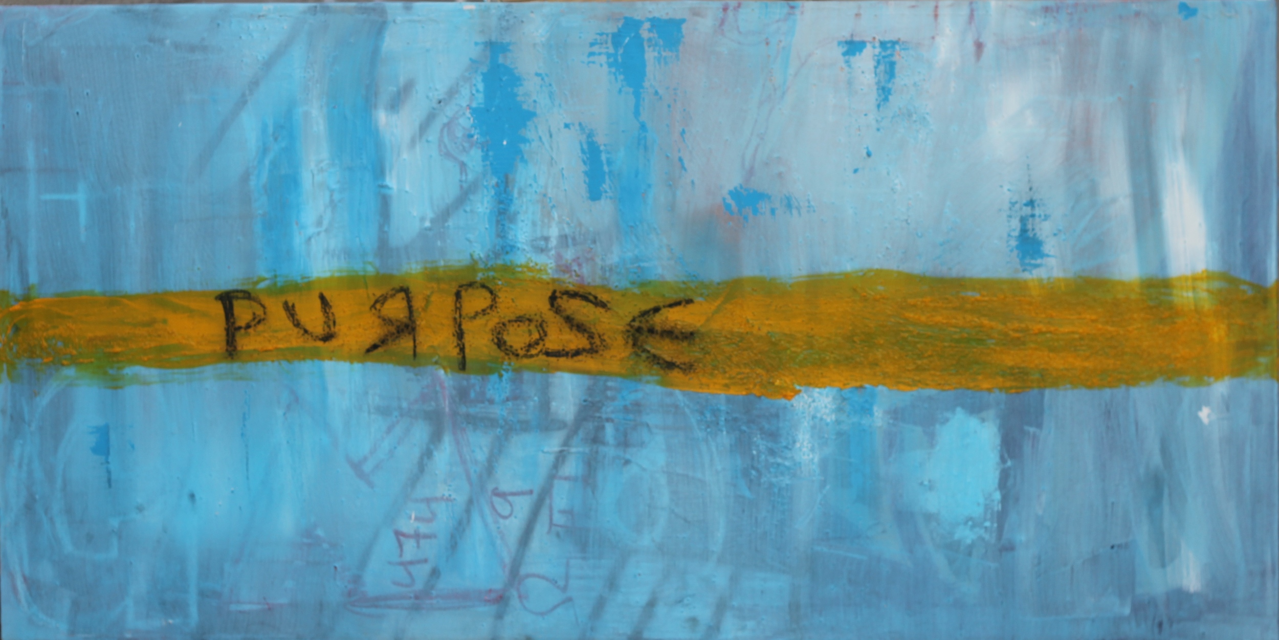 Purpose , 2015 Jeffrey Alonzo Karahamuheto 48 in  x 24 in Oil, Acrylic, Pastels, Spray Paint, and Granular Gel on stretched Canvas  (Sold- Private Owner)