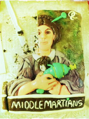 """A cake I made in graduate school. """"Middlemartians,"""" get it?"""