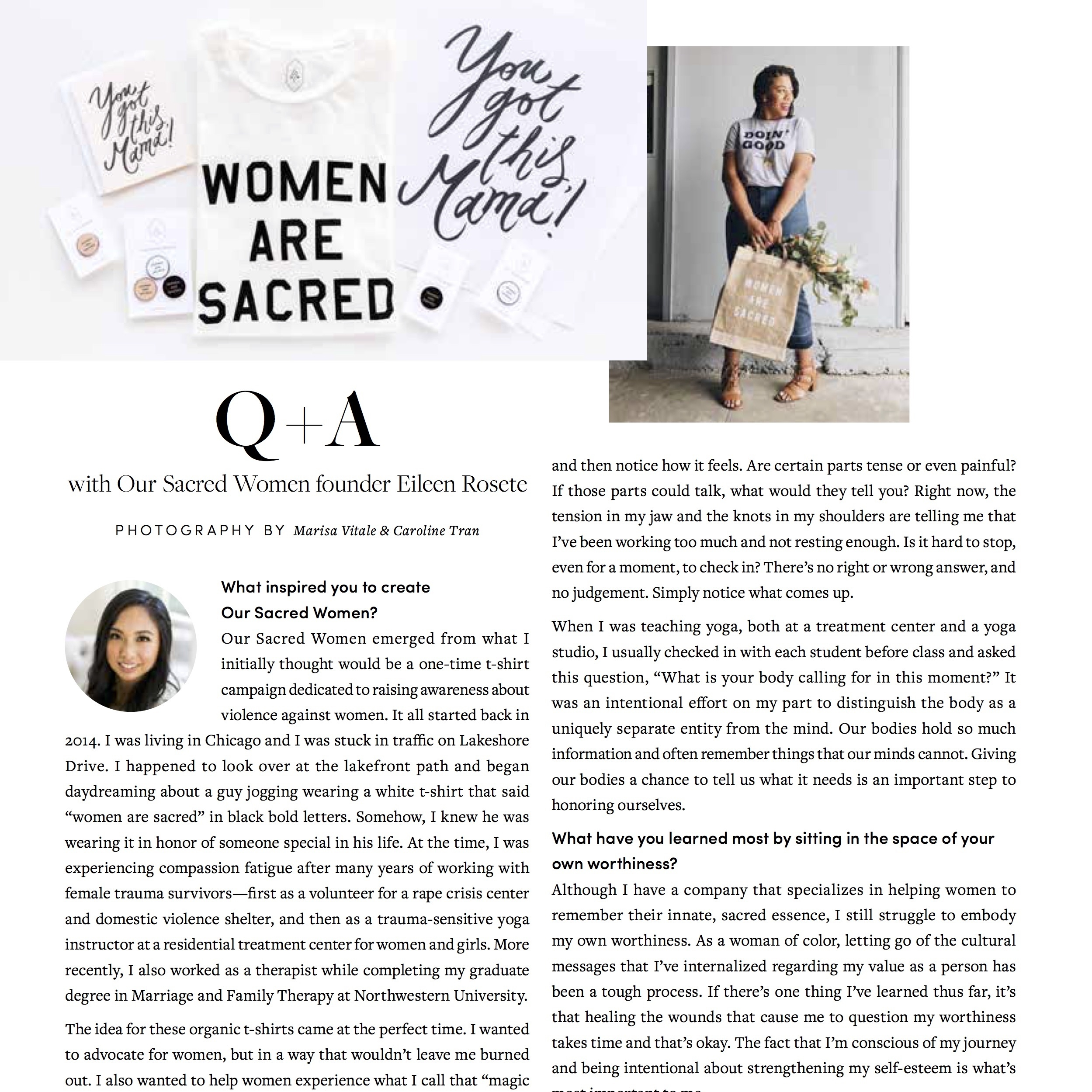 January 29, 2018  THOUGHTFULLY MAGAZINE  (PRINT & DIGITAL) 3-YEAR ANNIVERSARY ISSUE  Q+A with Our Sacred Women Founder Eileen Rosete