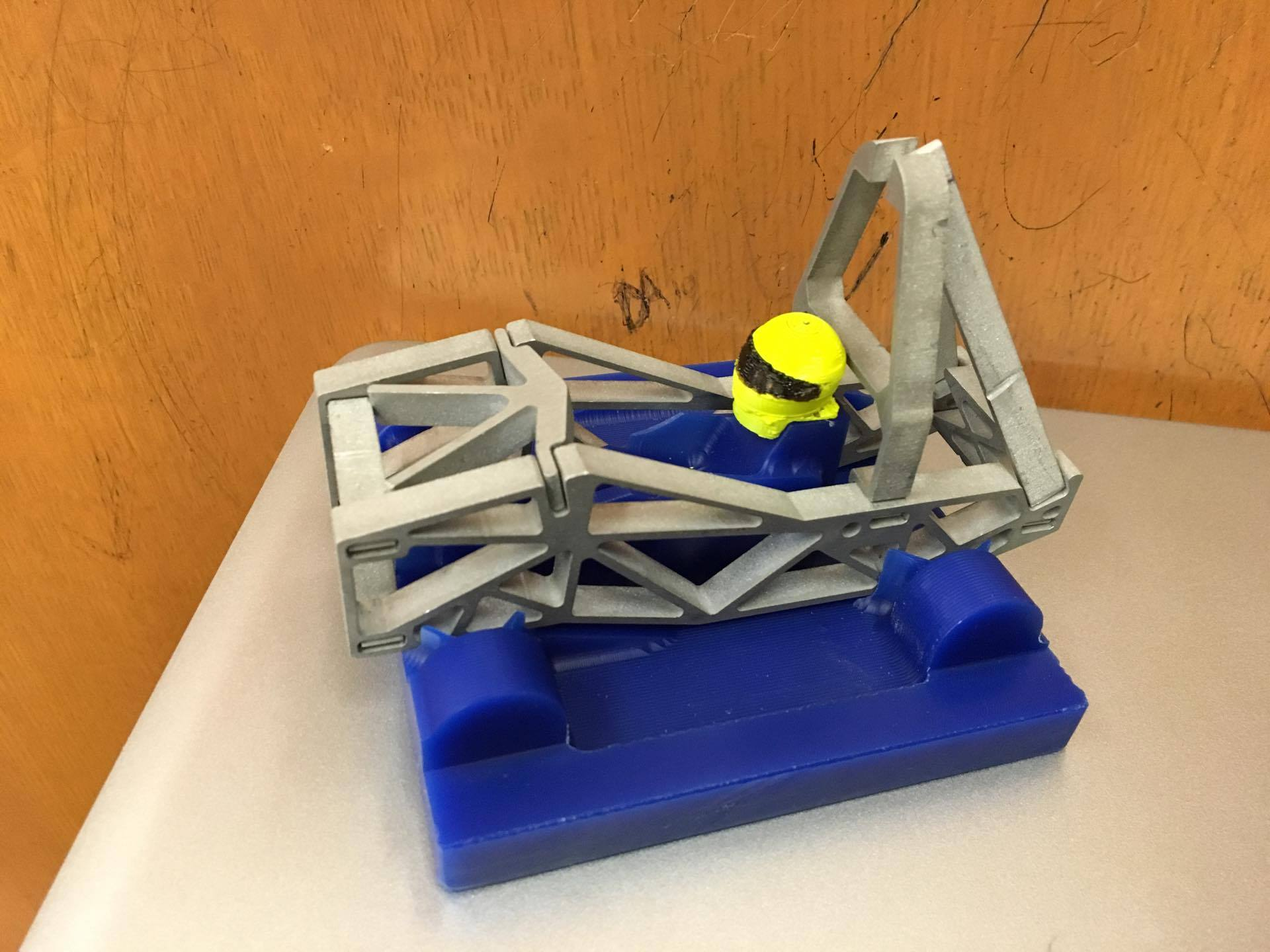 Full Assembly with 3D printed helmet, waterjet chassis, and CNC base