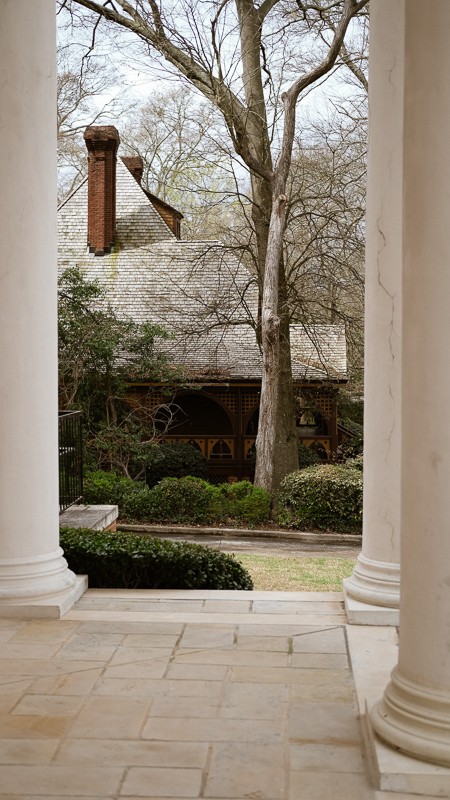 The porch of The Wren's Nest, seen from the porch of West Hunter Street Baptist Church.