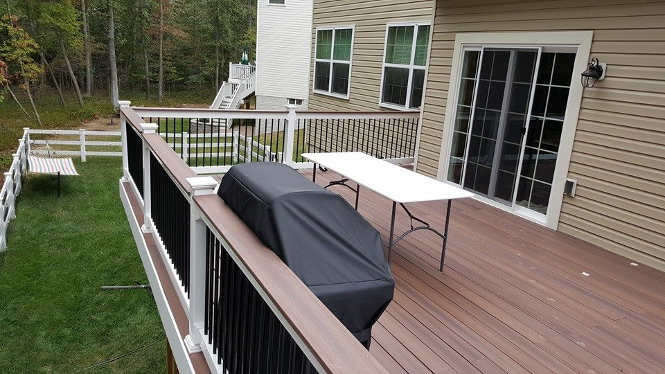 Tudor Brown Decking, Decking rail topper, White rails, Black Balusters