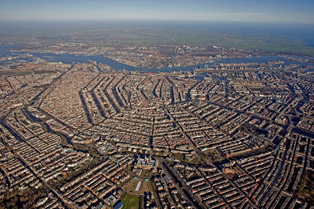 Over 100km of canals in Amsterdam: stock photo taken from Google
