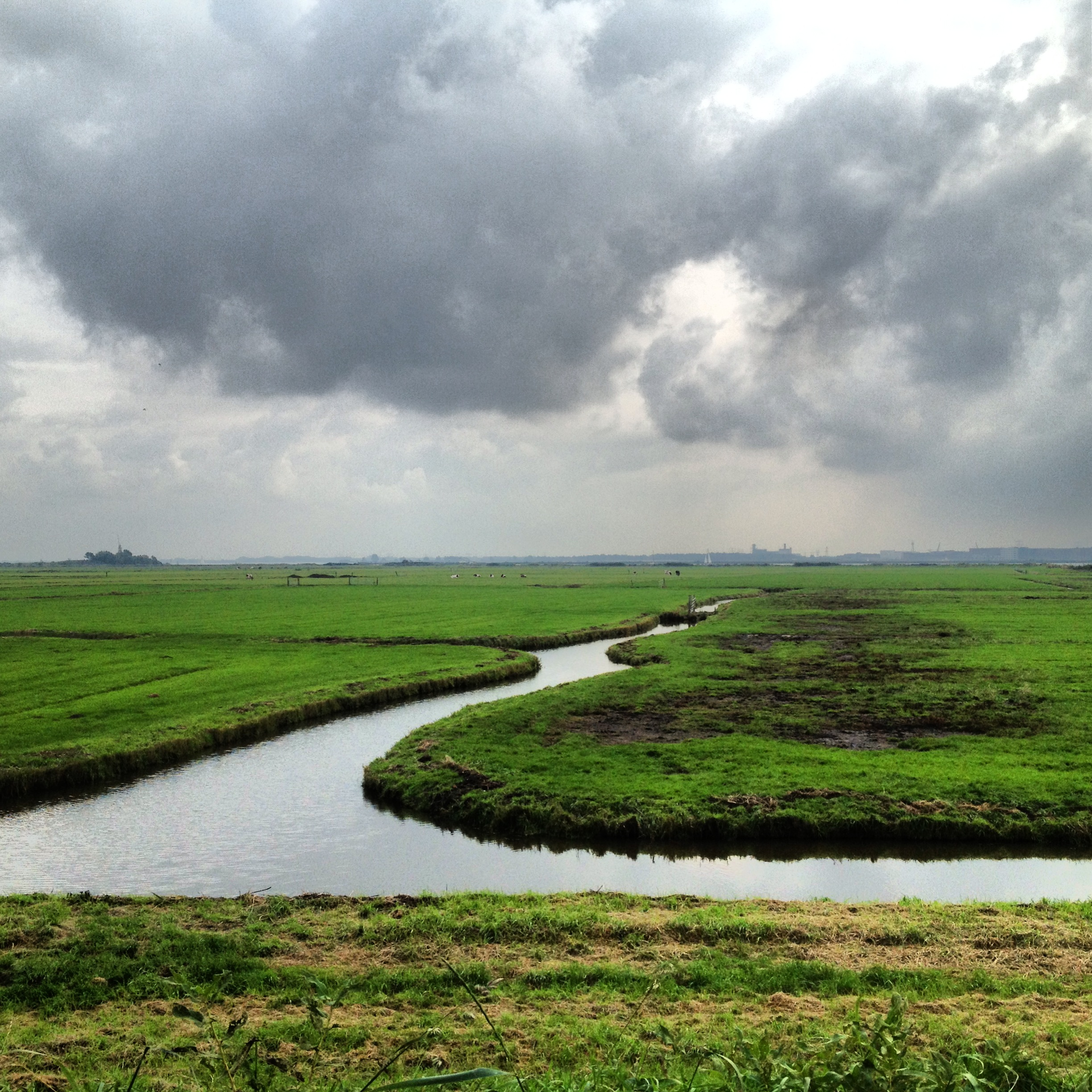 Man made canals that bisect the polders to pump the water for agricultural use: photo by Arlen Stawasz