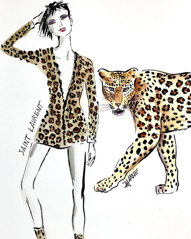 This illustration from @marnie_art supports our #SaveBigCatsByDesign initiative that asks designers who's fashions are inspired by big cats to give back a portion of sales to help save them in the wild. 🦁See link in bio for our #SaveaLion organic tees that give back to @natgeo Big Cats Initiative. #savebigcats #leopard #nyfw #ysl #organic #cats
