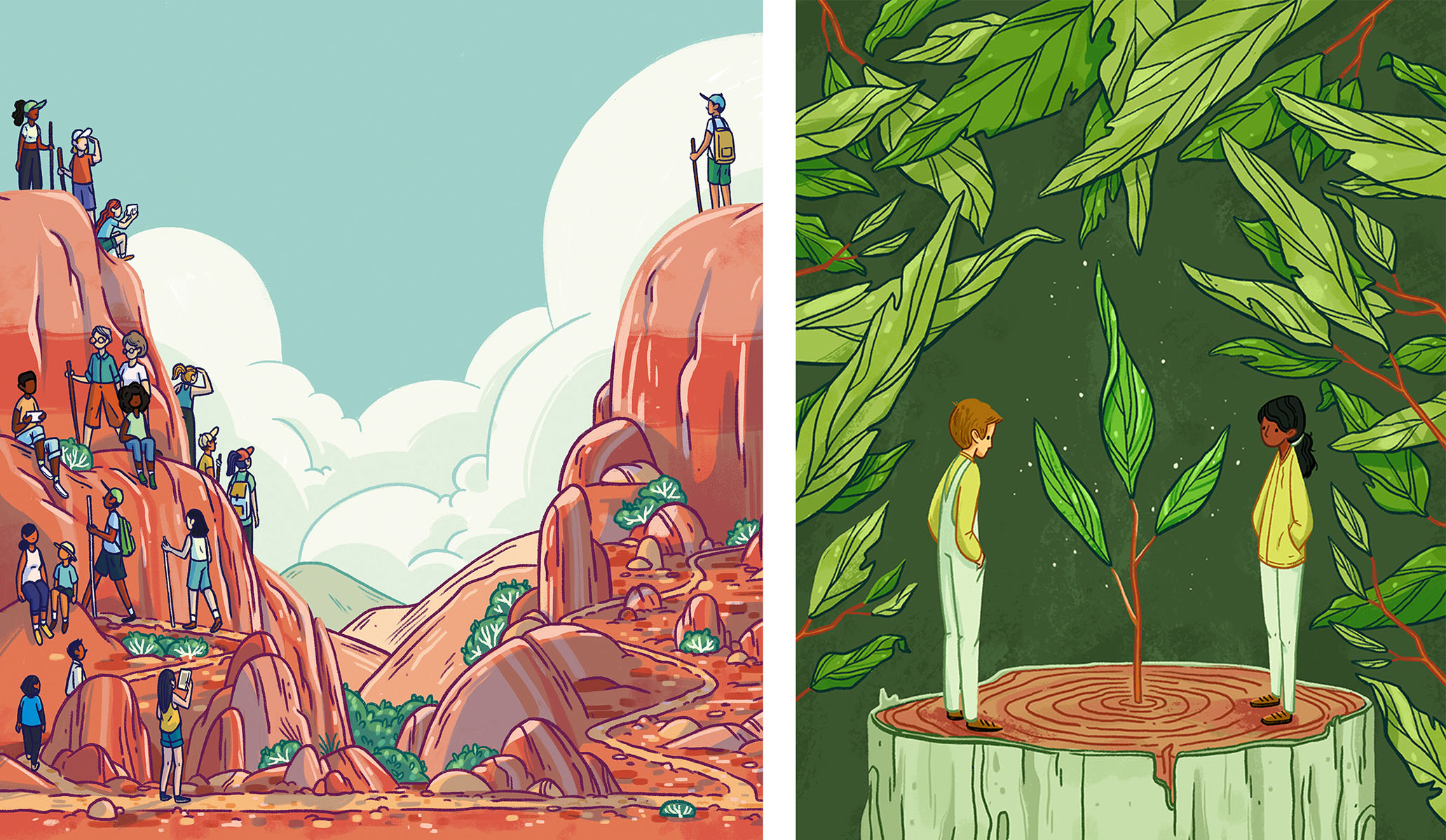 "Left: ""Hike, Love, Share, Protect"" for Desert Companion Magazine,   Right: ""A New Leaf"" personal work."