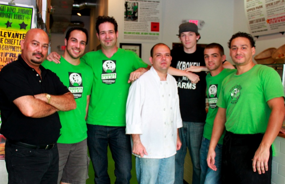Brad Finkle, Founder and CEO of Hoboken Farms, third from the left, and the rest of the Hoboken Farms Team.