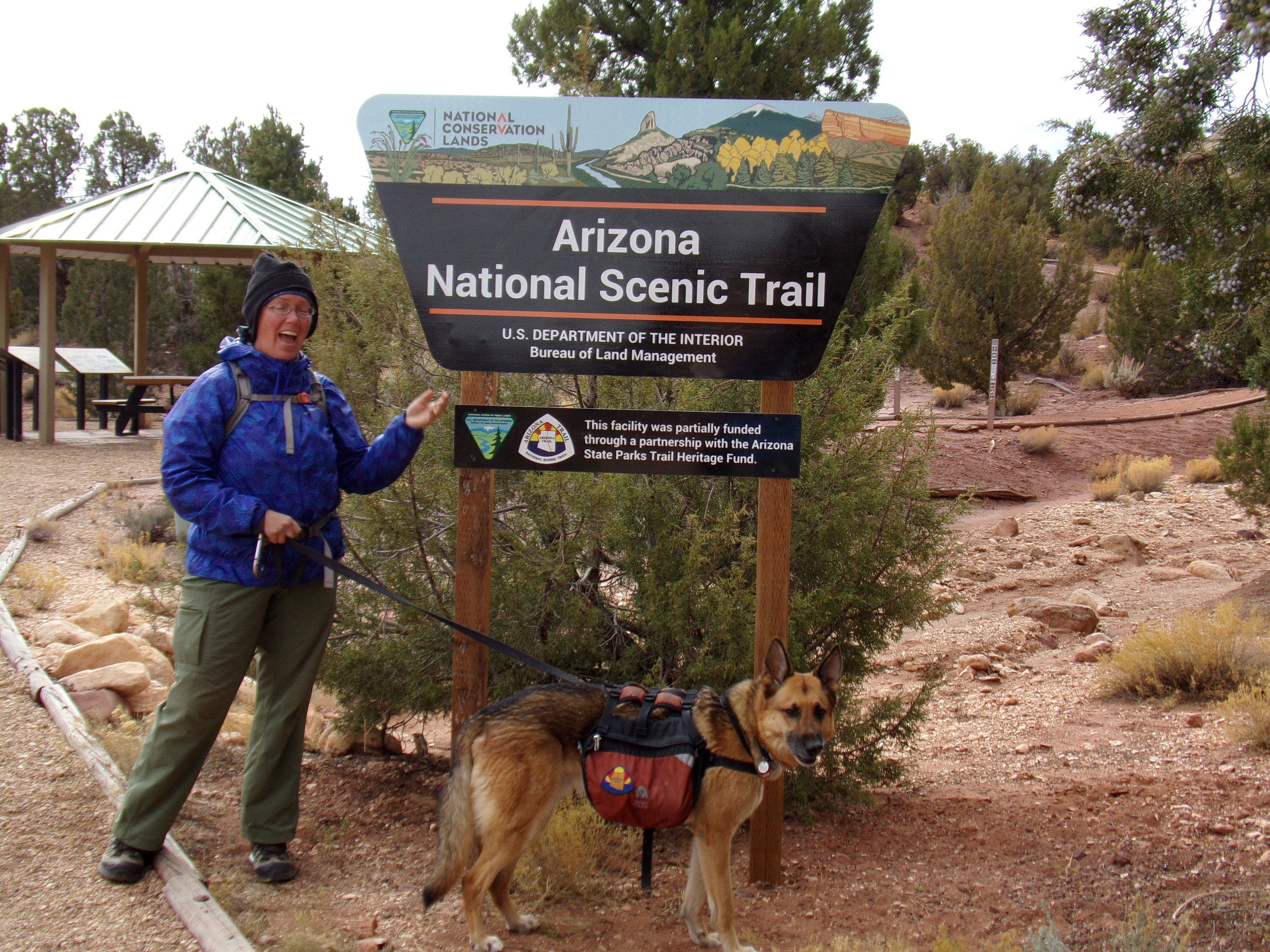 A cold and gusty day at the northern terminus of the AZT