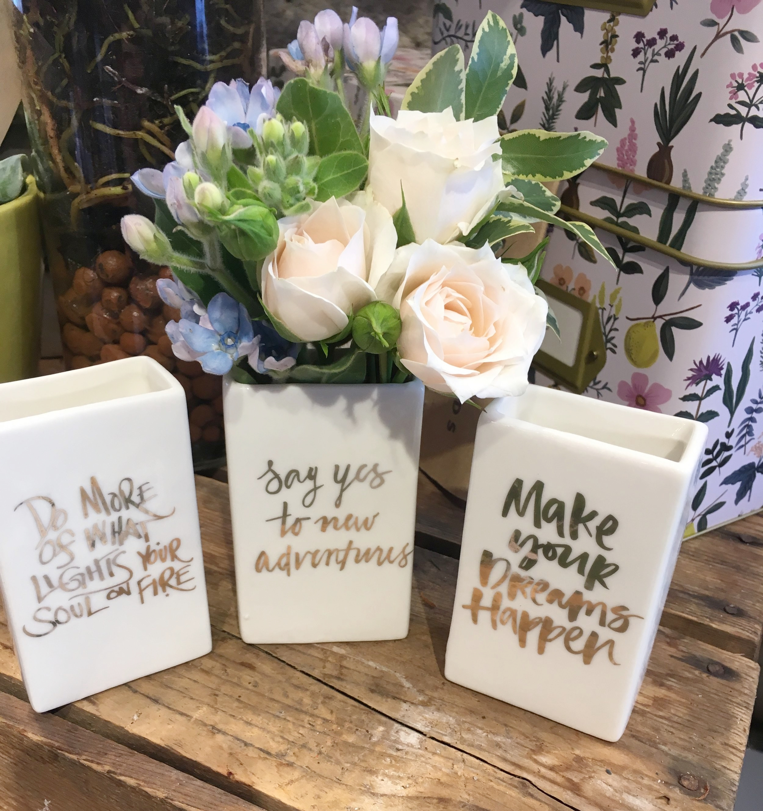 Pretty Posies  - Inspirational bud vases $14 each, $22 with flowers. These look great on their own and are the perfect size for one or two blooms!