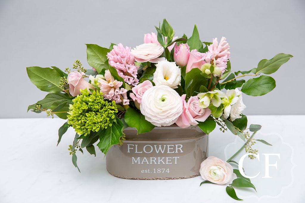 - The Blush Medley; a soft mix of premium blush and white flowers