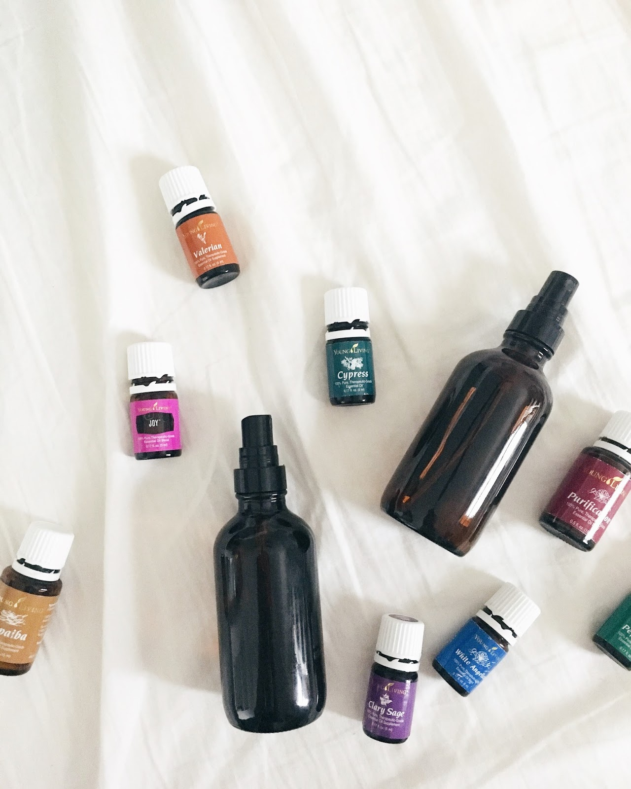 FRESH LINEN AND BED SPRAY:  + 10 drops lavender + 6 drops roman chamomile  + Top off with distilled water  Lightly mist bed sheets and pillows.   REFRESHING ROOM SPRAY:  + 5 drops rosemary + 5 drops orange + 5 drops peppermint + Top off with distilled water