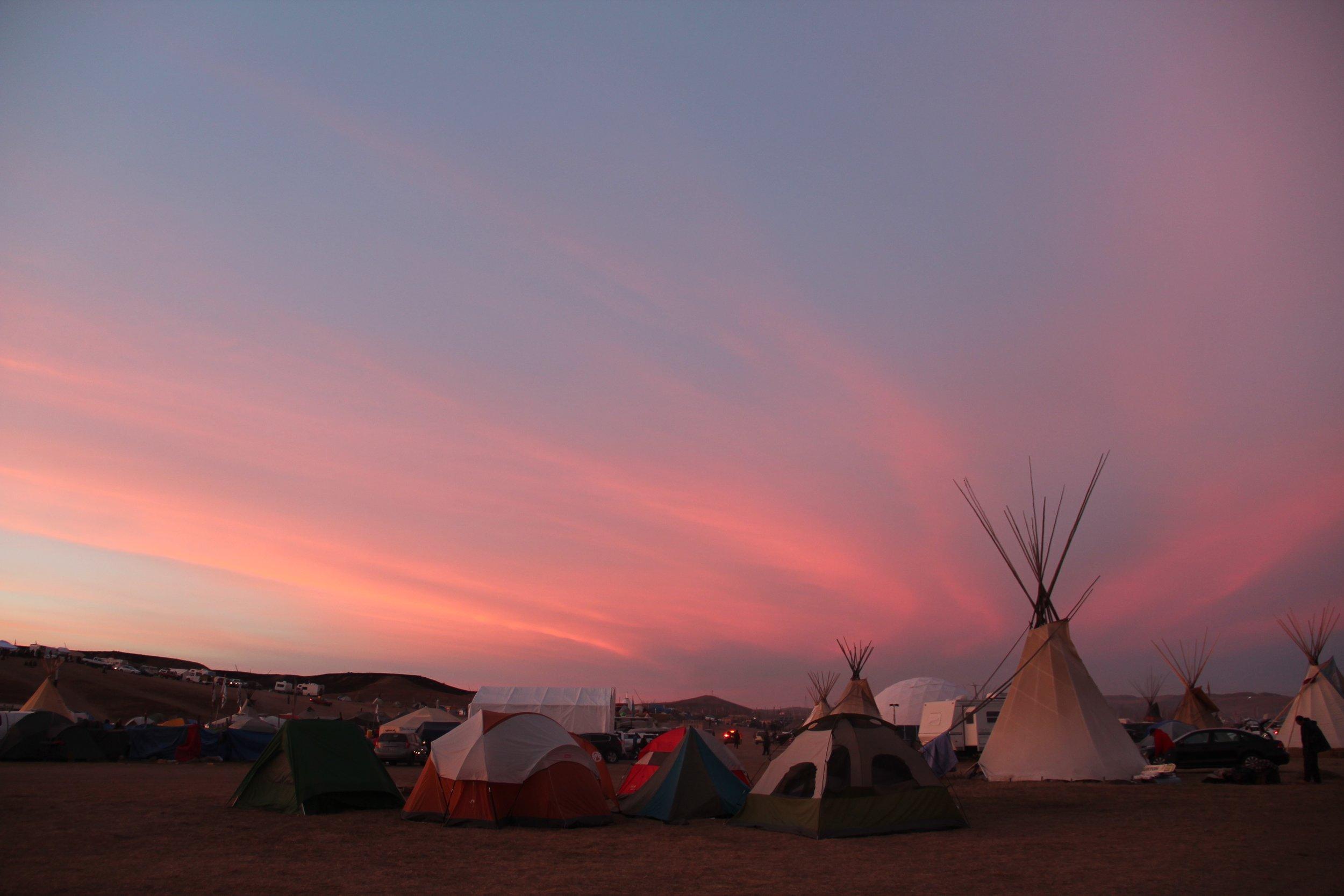 Sunset at Camp Oceti Sakowin