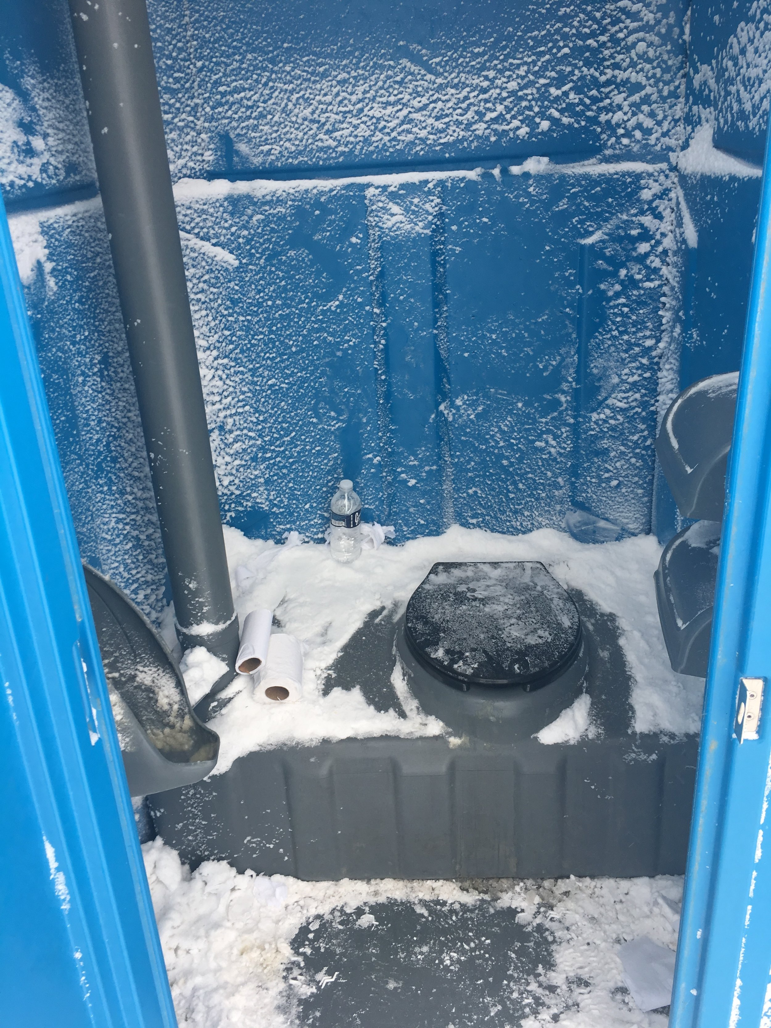 This is what it's like to use a port-a-potty during a blizzard in North Dakota. Photo by Lindsay Hill.