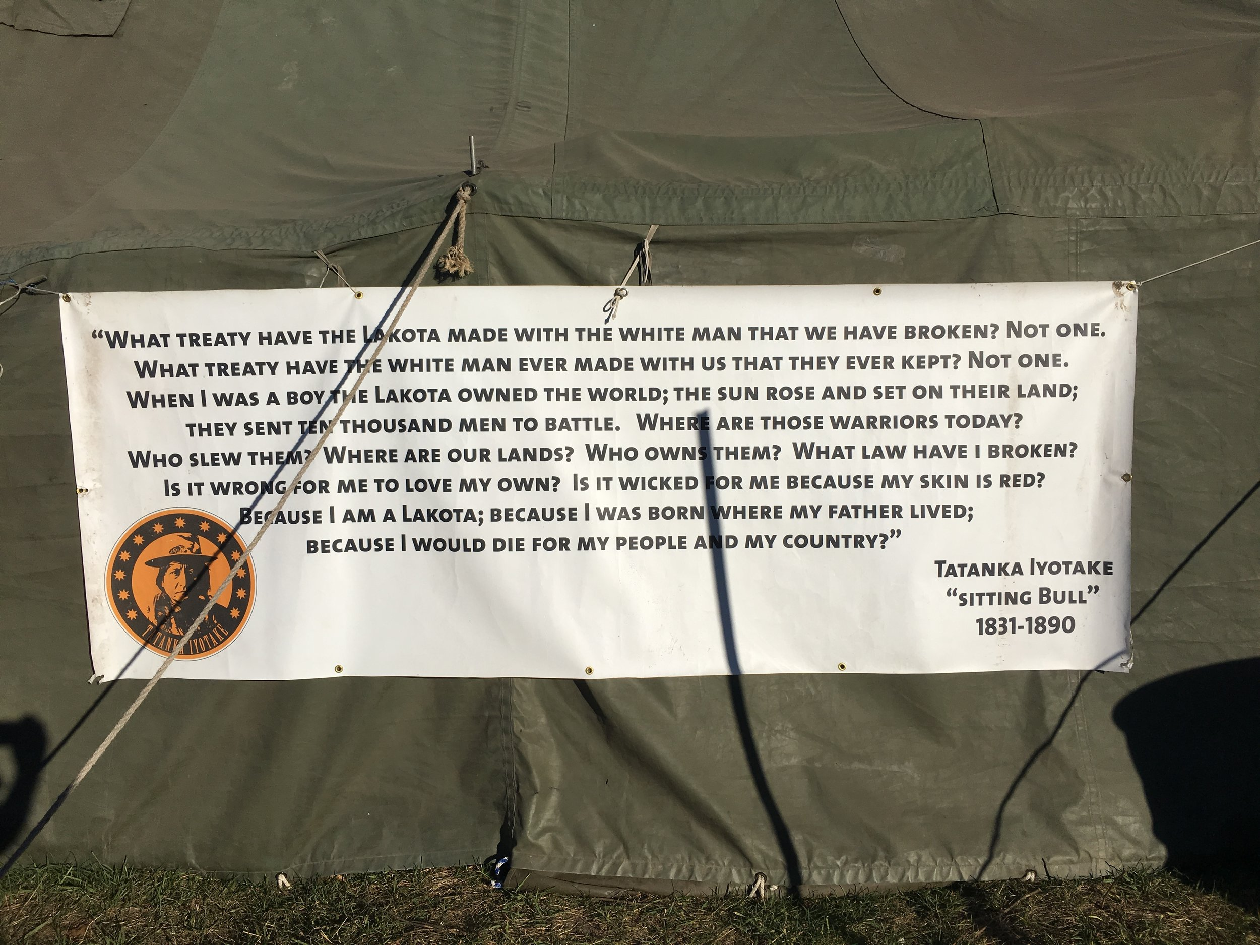 A sign hung on the side of a tent at Rosebud Camp on the Standing Rock Sioux Reservation in November 2016.