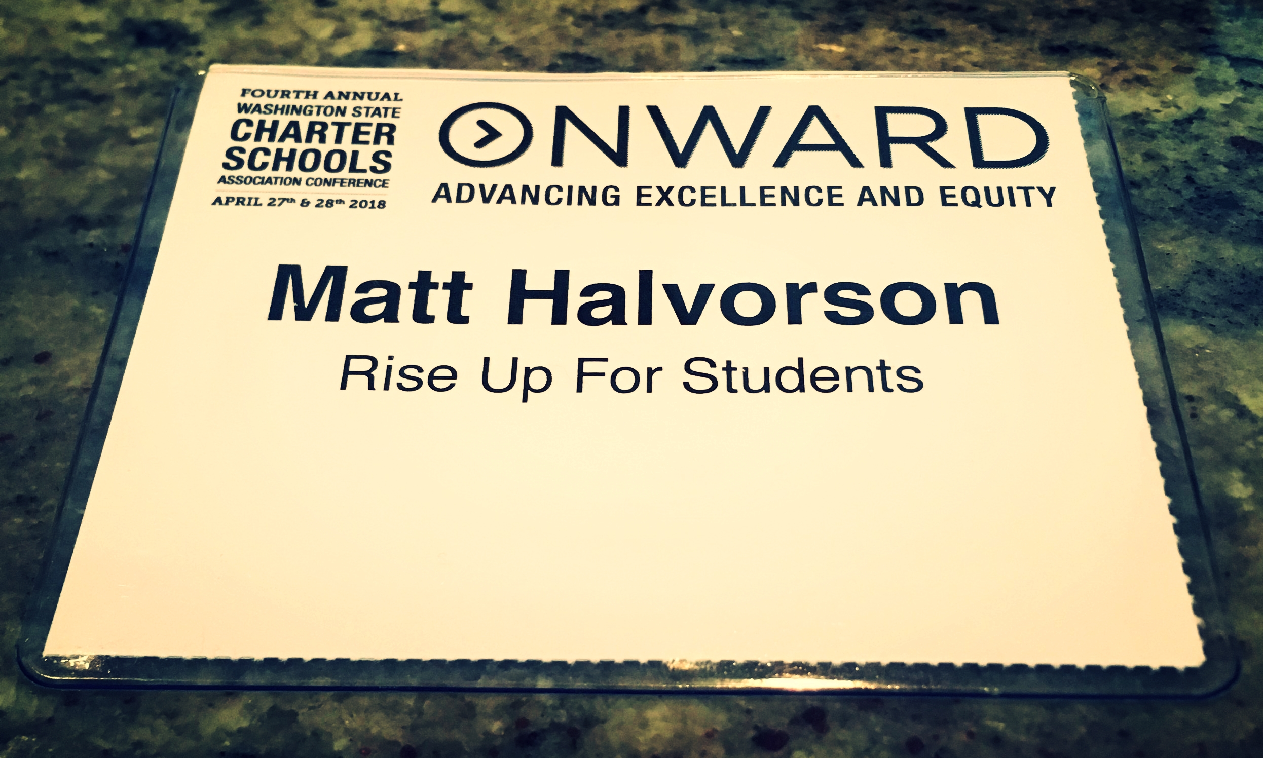 Matt Halvorson Name Badge - Rise Up For Students