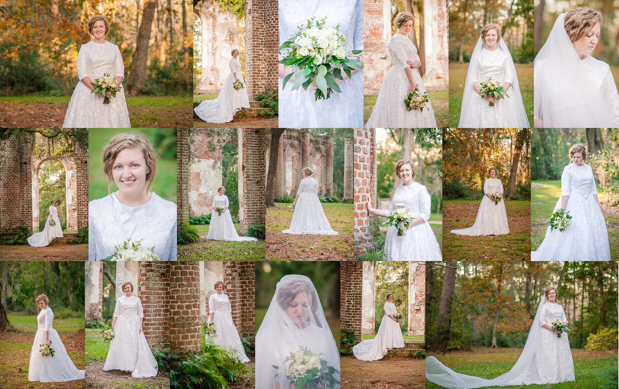 Kylie Floyd (Brown) Bridal Portraits Old Sheldon Church Ruins