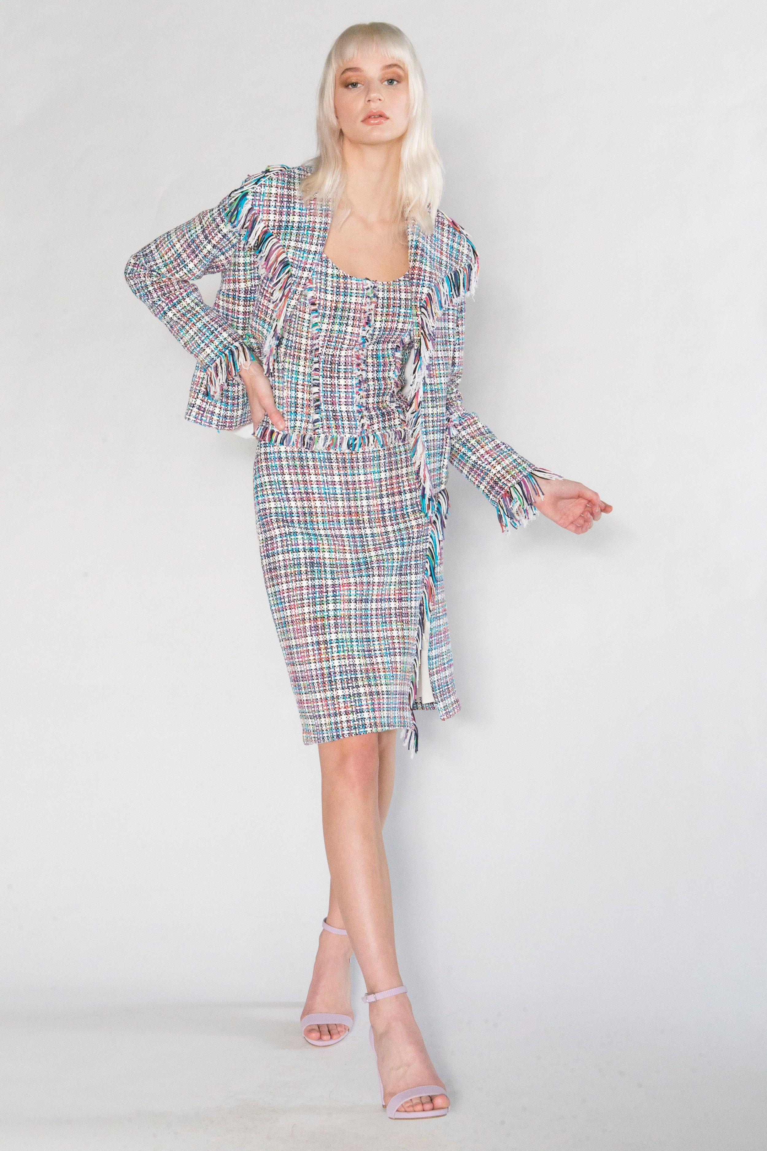 Summer Tweed Fringe Jacket, Summer Tweed Camisole, Summer Tweed Fringe Wrap Jacket