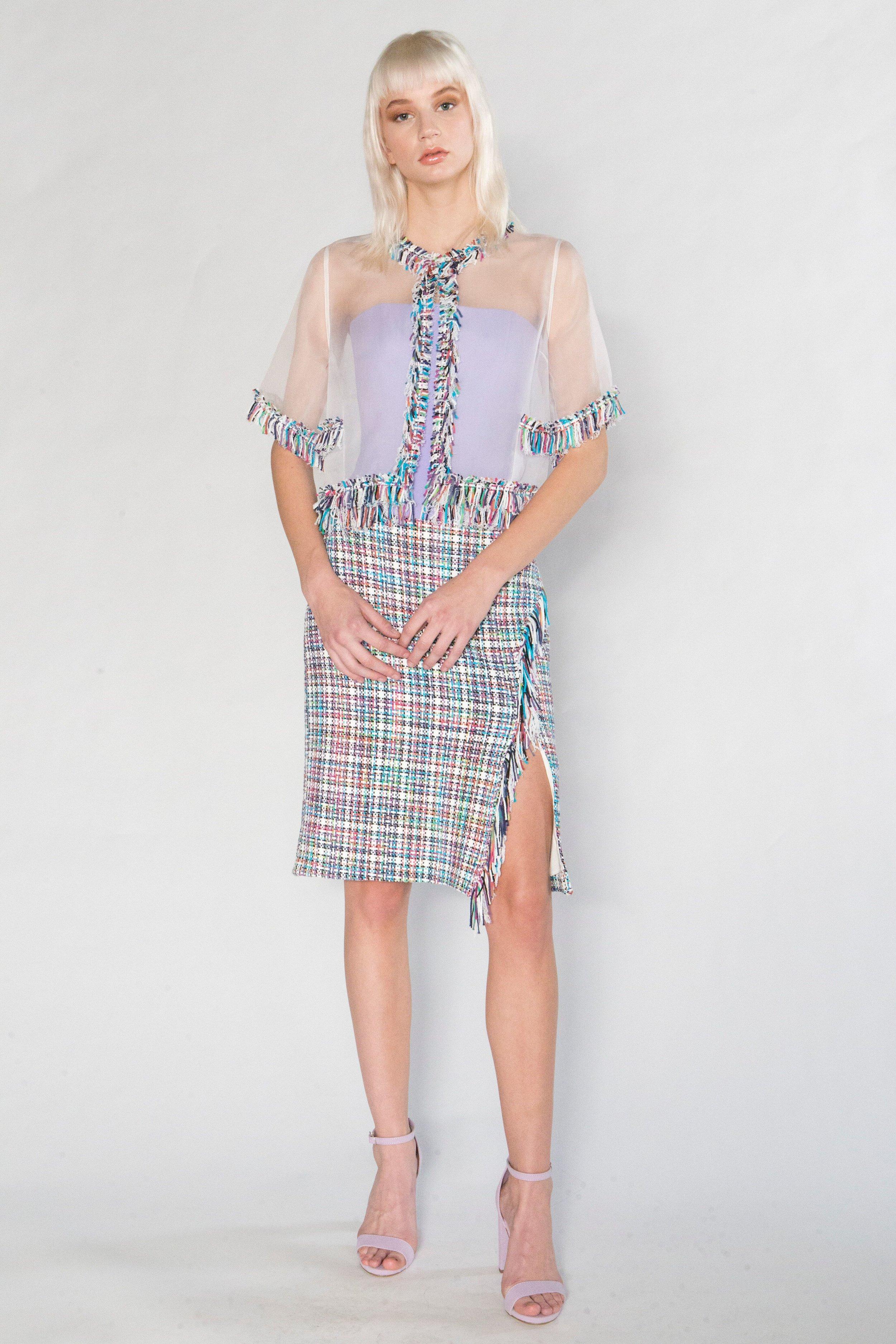 Organza Bolero w/Summer Tweed Trim, Solid Bustier Top, and Summer Tweed Fringe Wrap Skirt