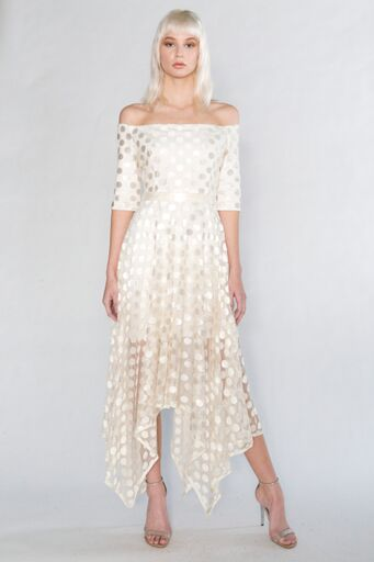 Dotted Hanky Hem Dress, ivory