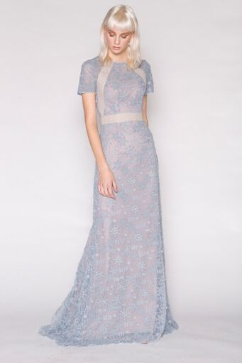 Blue Lace gown w/Vintage Ribbon