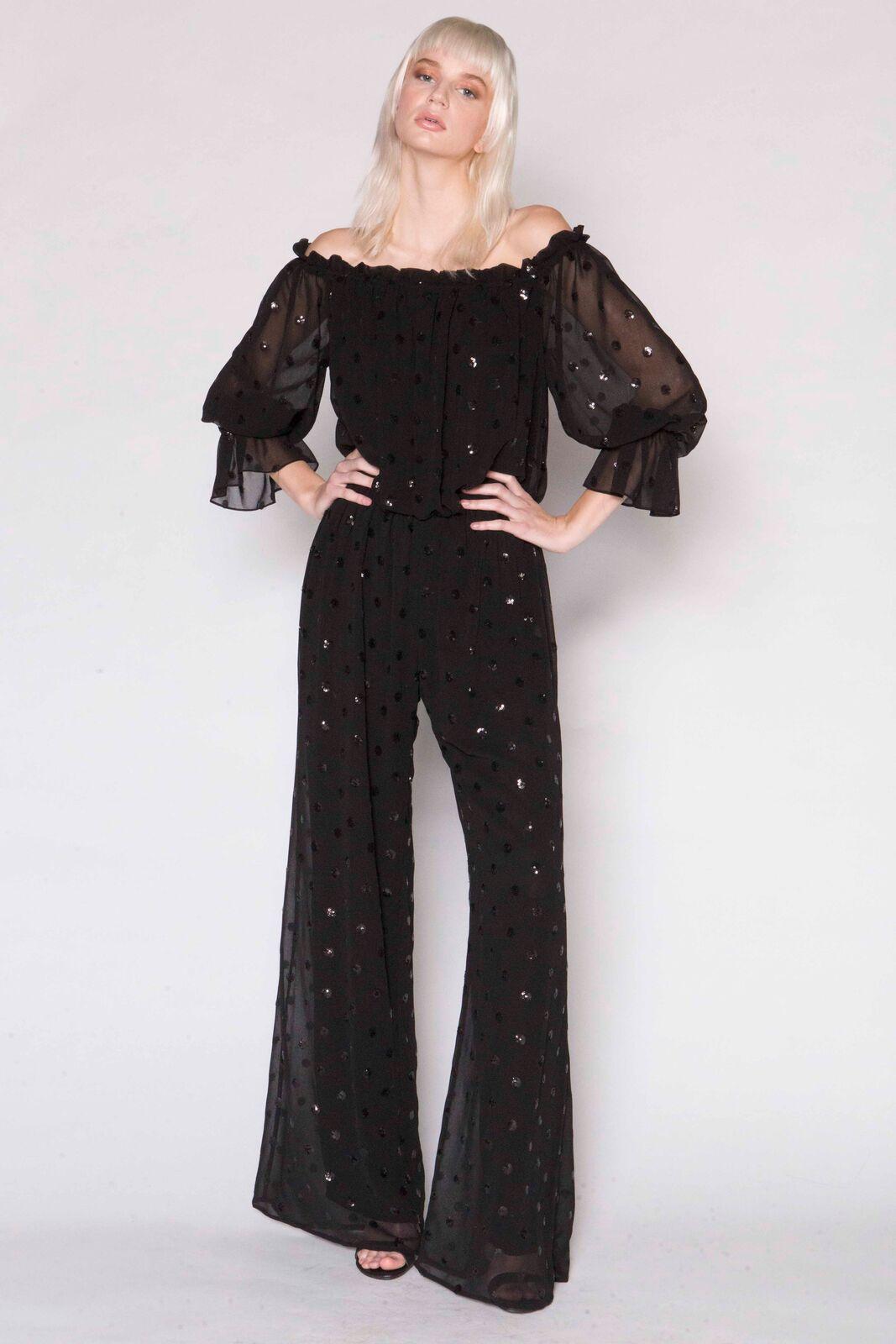 Sequin Dot Georgette Jumpsuit, blk