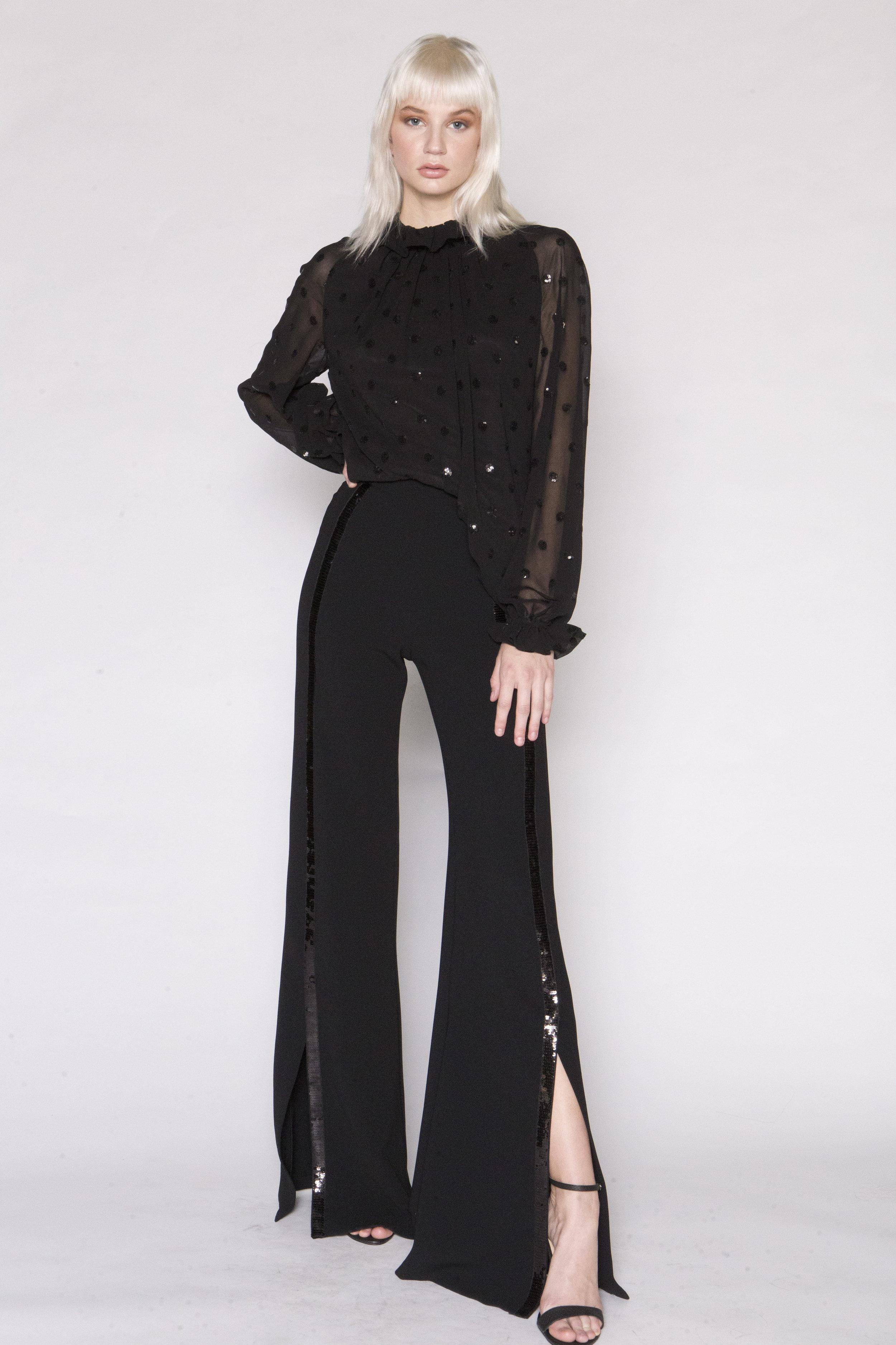 Sequin Dot Top w/Ruffle Neck and Black Tuxedo Split Pant w/Sequin Stripe