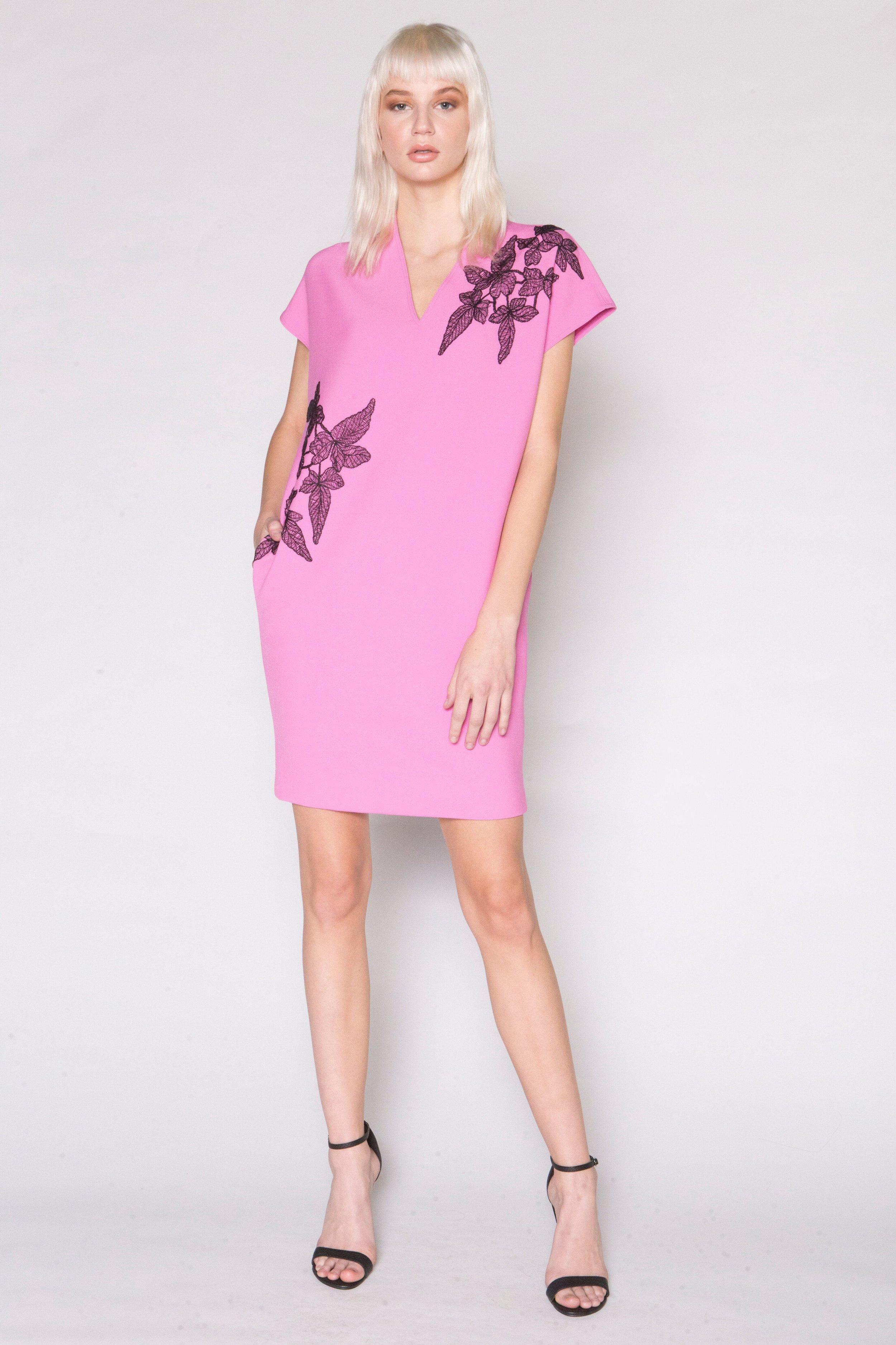 Pink Wedge Dress w/Blk Floral Applique